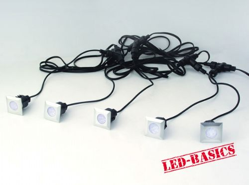 LED-Basics, Outdoor Lighting, LED 5 square deck light kit with transformer, IP65, White LED